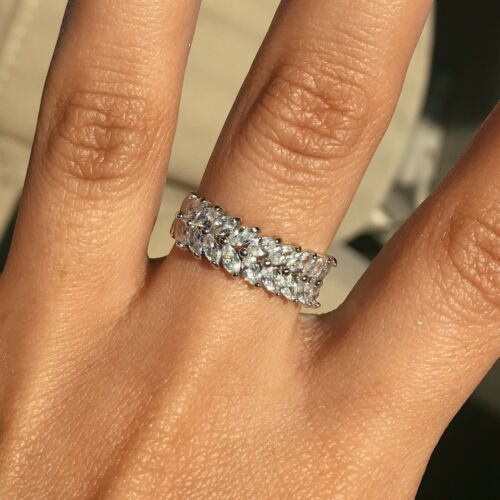 Diamond Ring Band Silver Eternity Stackable Woman's Ring White Size 6