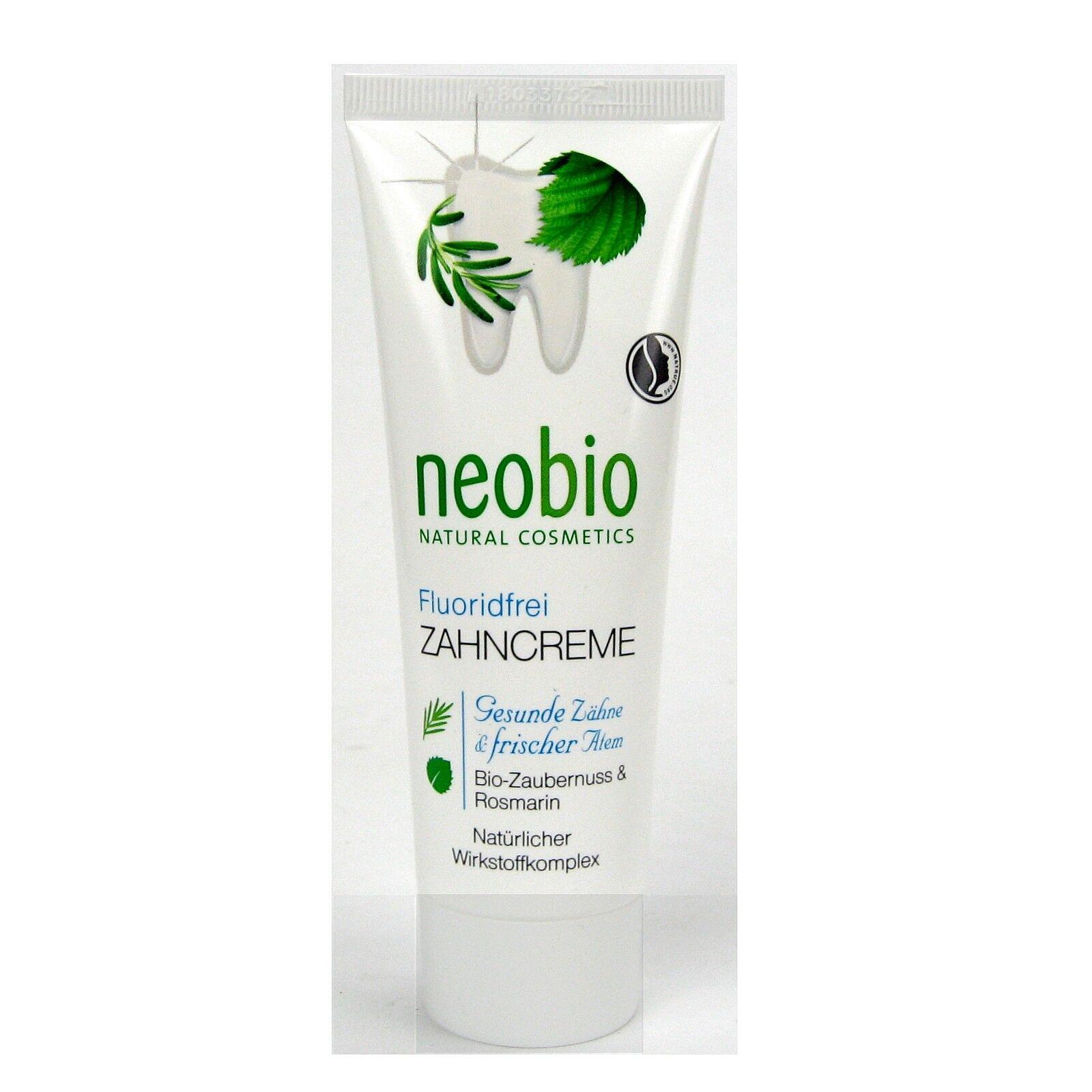 (8,05/100ml) 3x Neobio Zahncreme fluoridfrei ohne Fluorid 75 ml