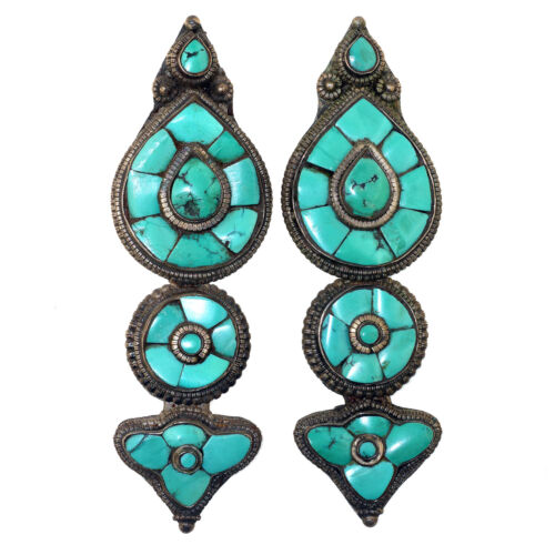 (3126) Rare Antique Tibetan silver and turquoise earrings