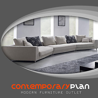 Contemporary Off White -Grey Fabric Sectional Sofa w Pillows Modern Urban Design