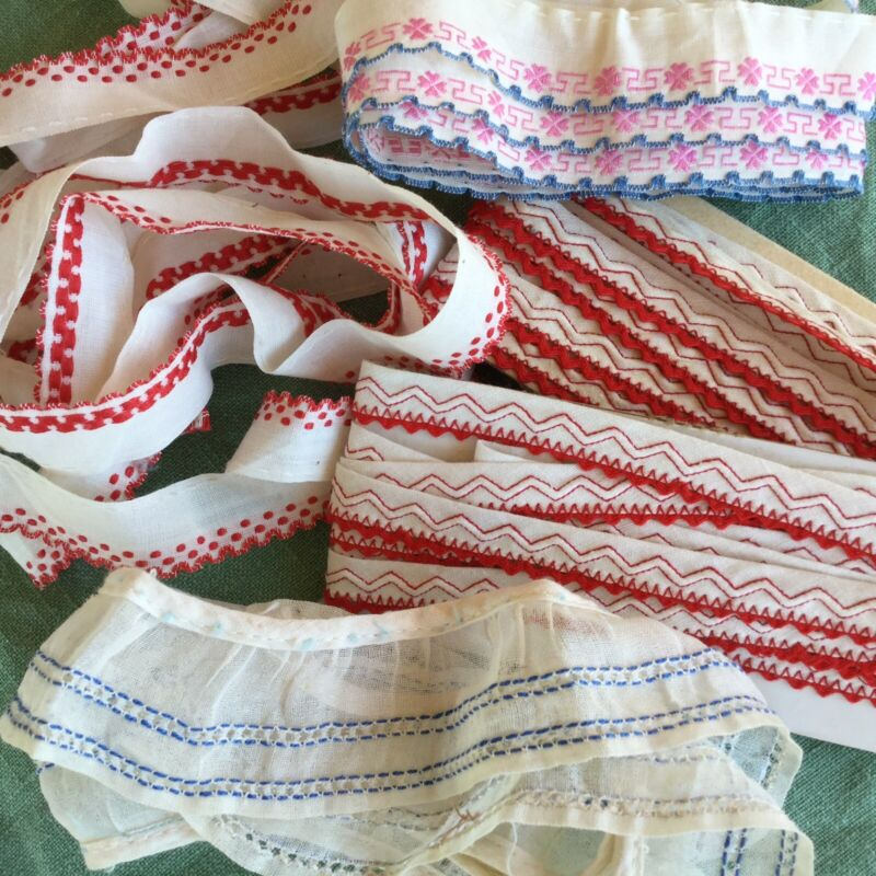 Vintage Lot 9+yds Ruffle Trims Ribbon Edging Doll Baby Clothes Sewing