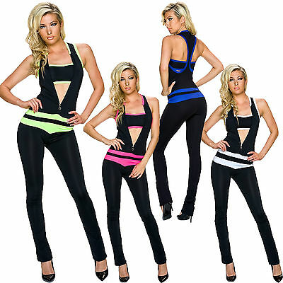 Damen 2-in-1 Overall Racer Back Bandeau Top Jumpsuit Einteiler S 34 36 sexy Mode - Racer Jumpsuit
