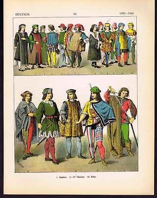 Germany Knights-Councilmen 15th Century - Lithograpraph