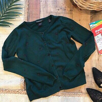 Maison Scotch Green w/Black Metallic Stars Cardigan Button Front Size 3/L