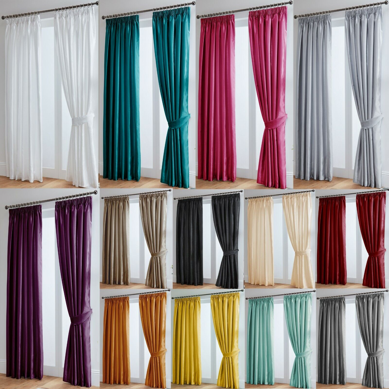 curtains - Faux Silk Curtains Luxury Fully Lined - Pencil Pleat Tape Top - Free Tiebacks