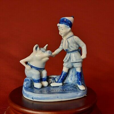 Rare, Vintage Jopie Bigmans, Boy with Pig Figurine, Made in Holland
