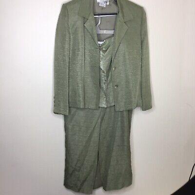Vera Crutina Womens Vintage 3 Piece Suit Maxi Skirt Crop Top Jacket Silk Linen ()