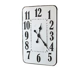 Modern Analog Large Number 28 Inch Rectangle White Enamelware Wall Clock