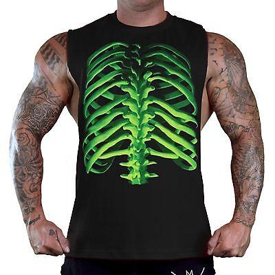 Glowing Skeleton - Men's Glowing Skeleton Bones Black T-Shirt Tank Top Gym Workout Halloween Tee