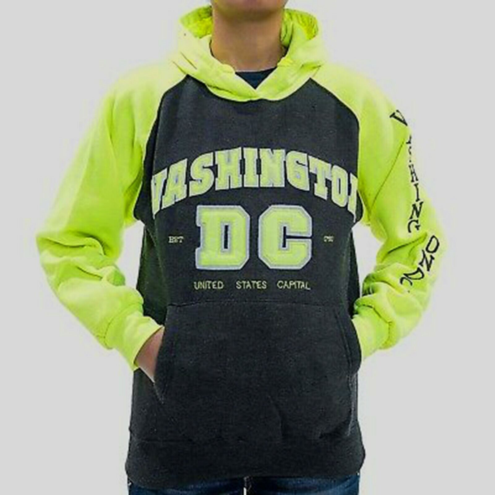 Washington DC Charcoal Yellow NEON Hoodie Sweatshirt Embroidered Letters Unisex