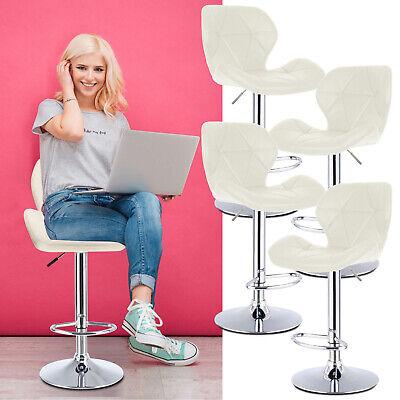 Set Of 4 Modern Bar Stools Leather Hydraulic Swivel Dinning Chair Pair Barstools