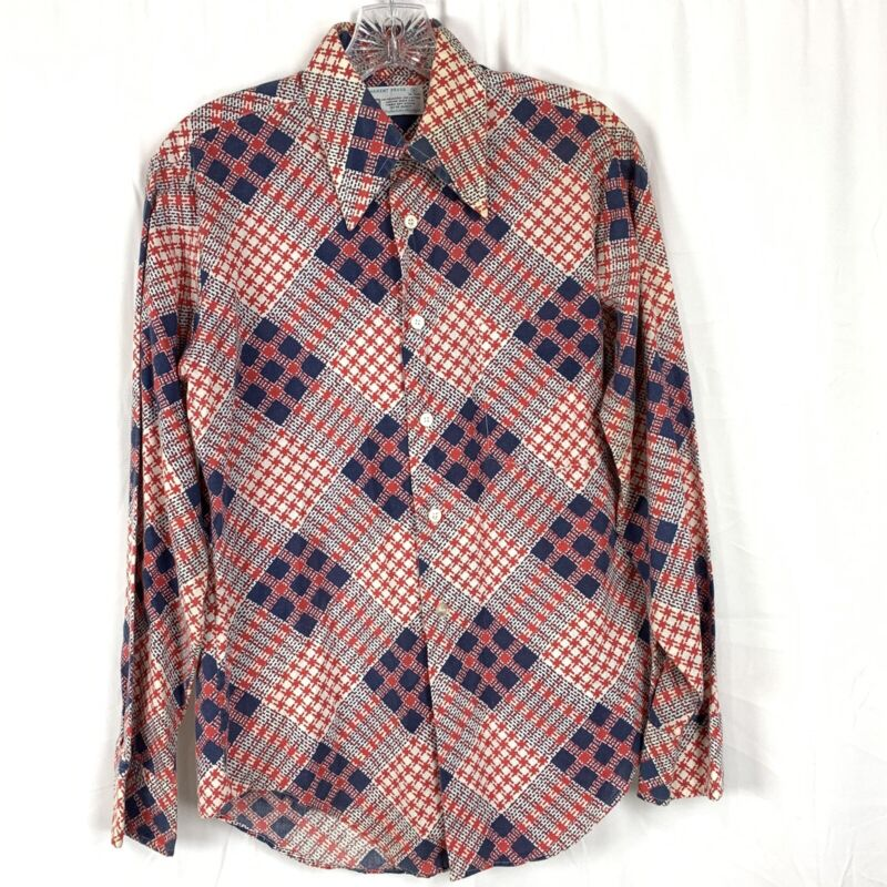 Vintage 60s 70s KMART Men's Plaid Dress Shirt S Americana Red, White And Blue
