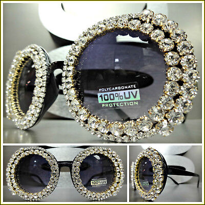 Unique VINTAGE RETRO Style SUNGLASSES Round Black Frame Bling Crystals Hand Made