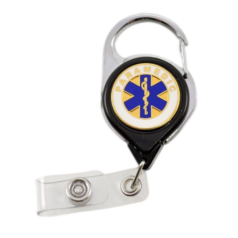 Paramedic Carabiner Nurse Medical Retractable Badge Reel ID Holder Key-Bak Black