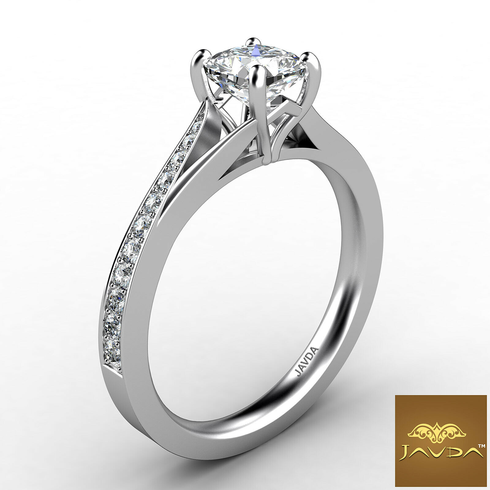 1.15ctw 4 Prong Side Stone Cushion Diamond Engagement Ring GIA G-VVS2 White Gold 2
