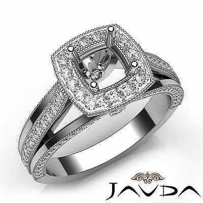 Pave Cushion Diamond Semi Mount Millgrain Engagement Ring 18k White Gold 0.9Ct