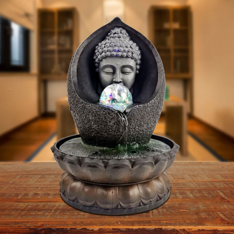 LED Desktop Fountain Waterfall Sleeping Buddha for Office Desk Decoration US
