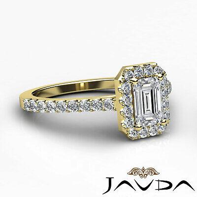 Halo Emerald Cut Diamond Engagement French U Pave Wedding Ring GIA F VS2 1.21Ct 9