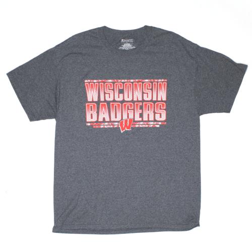 CHAMPION Wisconsin Badgers Grey Regular USA Short Sleeve T-Shirt Mens L