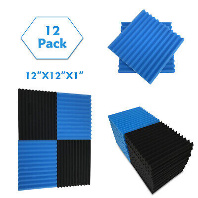"12 Pack Acoustic Foam Panel Wedge Studio Soundproofing 12""X12""X1"" Wall Tiles KTV"