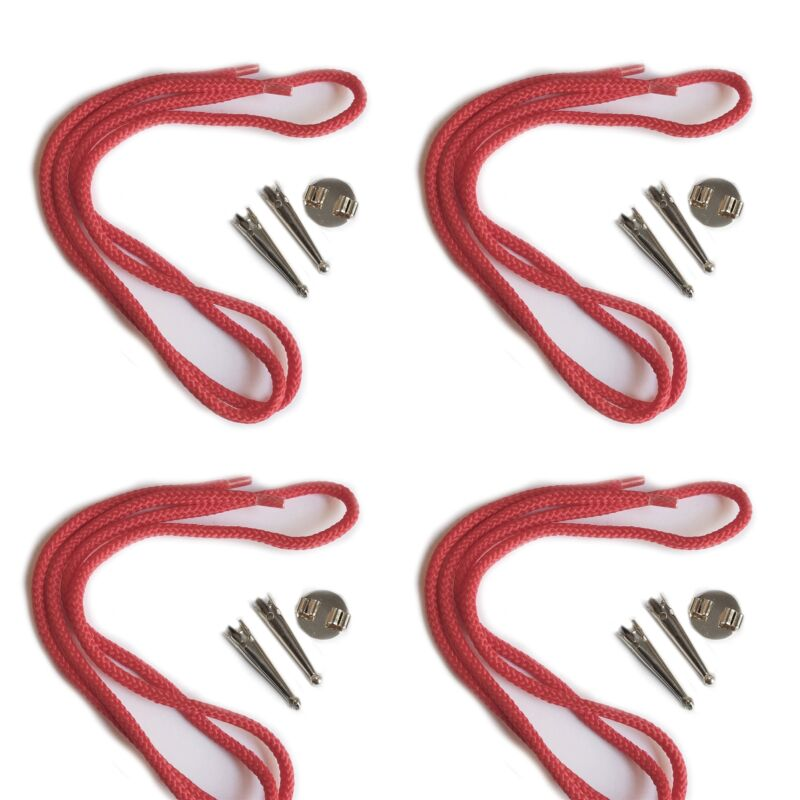 Blank Bolo Tie Parts Kit Round Slide Smooth Tips Red Cord Silvertone Pk/4