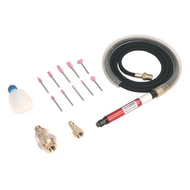 Sealey Air Motor Micro Die Grinder/Grinding Kit - 3mm Diameter Collet - SA673