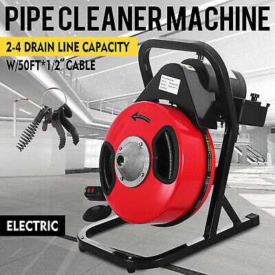 Sewer Snake 50ft 12electric Auger Drill Drain Cleaner Machine W 4 Cutter