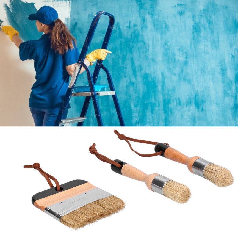 3PCS Painting Waxing Paint Brushes Scrubbing Set for Wood Furniture Home Decor