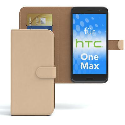 Tasche für HTC One Max Case Wallet Schutz Hülle Cover Hellbraun Htc One Max Case
