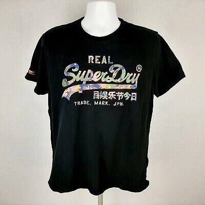 Vintage Superdry Men's T-shirt Size 2XL Black FB12