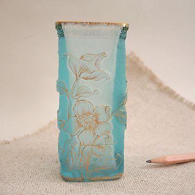 Antique Daum Nancy Cameo French Art Glass Vase Carved Gold Aqua Enameled Flowers