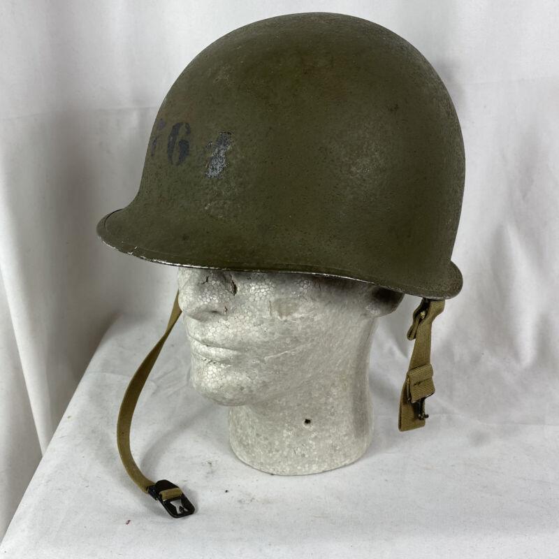 Original Wwii Fixed Bale M-1 Helmet W/ Inland Liner Ex Cond