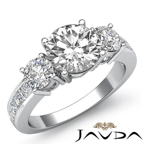 2ct Round Prong Channel Set Diamond Engagement 3 Stone Ring GIA F VVS2 Platinum