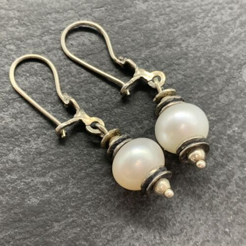 Vintage 925 Sterling Silver Drop Dangle Earrings with Solitaire Pearls