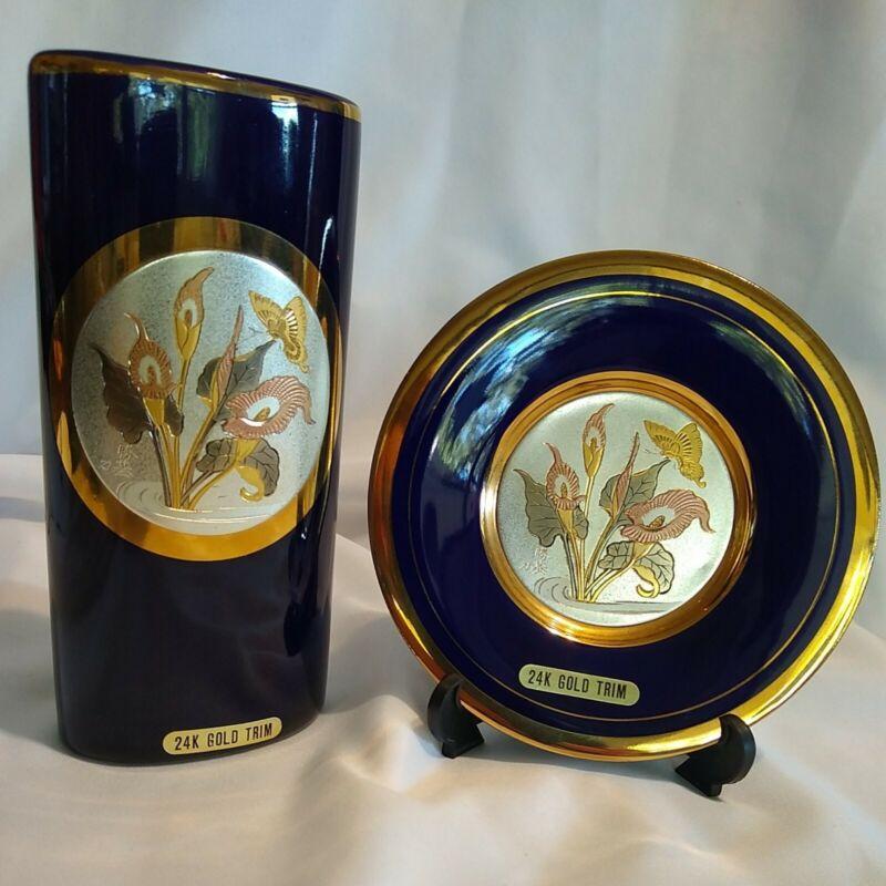 "VINTAGE Japan Blue Chokin 2pc Gold Rim 6"" Vase & 5"" Plate w/ Butterflies Flowers"
