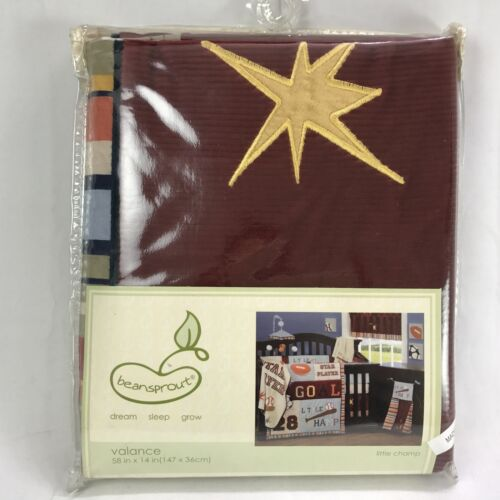 """Beansprout Valance Little Champ 58"""" x 14"""" Baby Boys Window Burgundy Red Striped"""