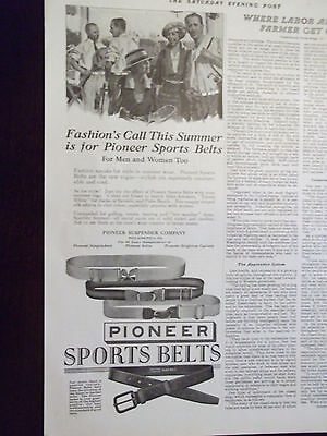 1923 Pioneer Sports Belts for Men and Women Advertisement