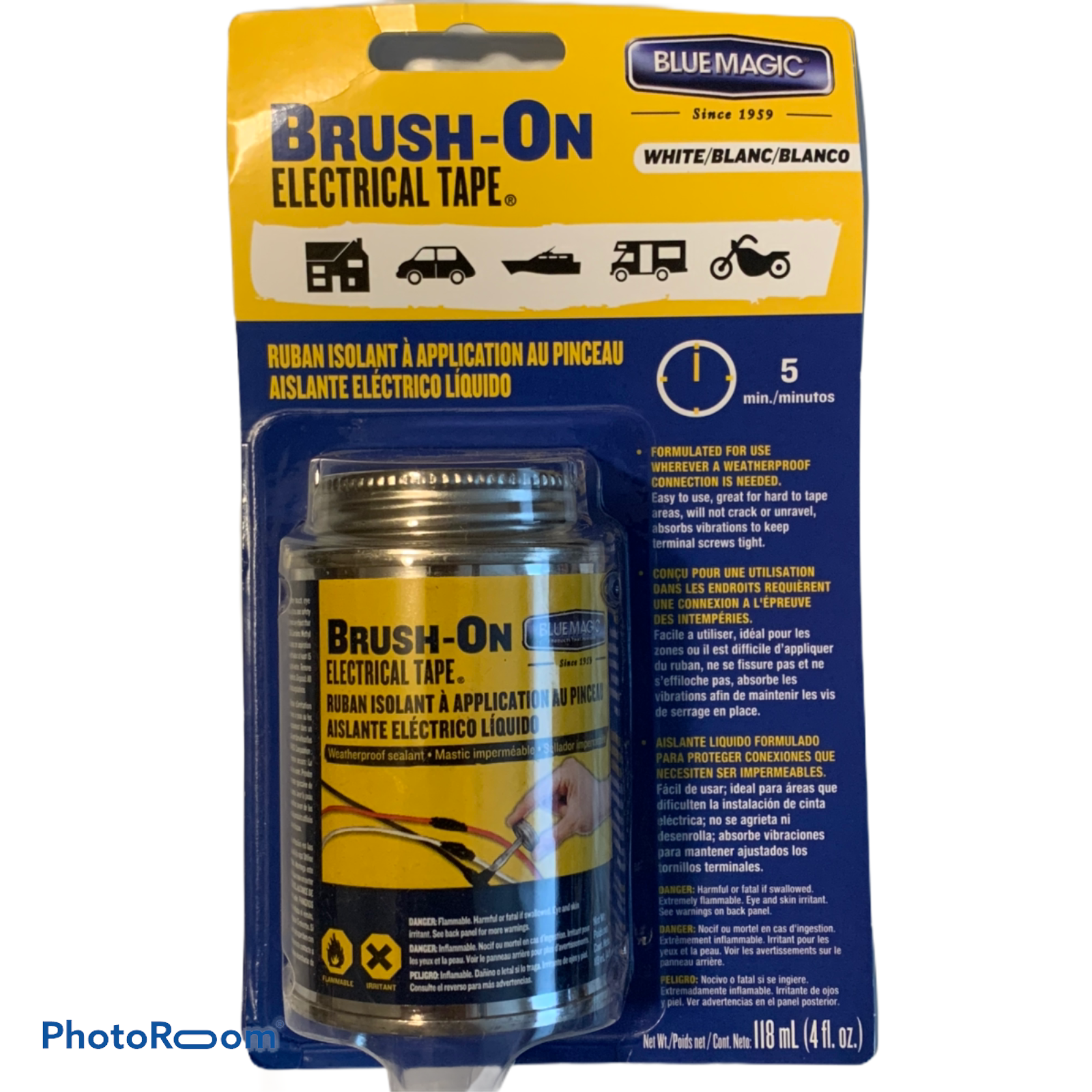 Blue Magic BRUSH-ON ELECTRICAL TAPE Flexible Rubber Waterproof 4 oz (WHITE) Adhesive Tapes