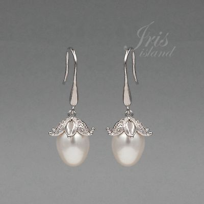 White Pearl Freshwater CZ 925 Sterling Silver Hook Drop Dangle Earrings 08021 - Pearl 925 Sterling Silver Drop