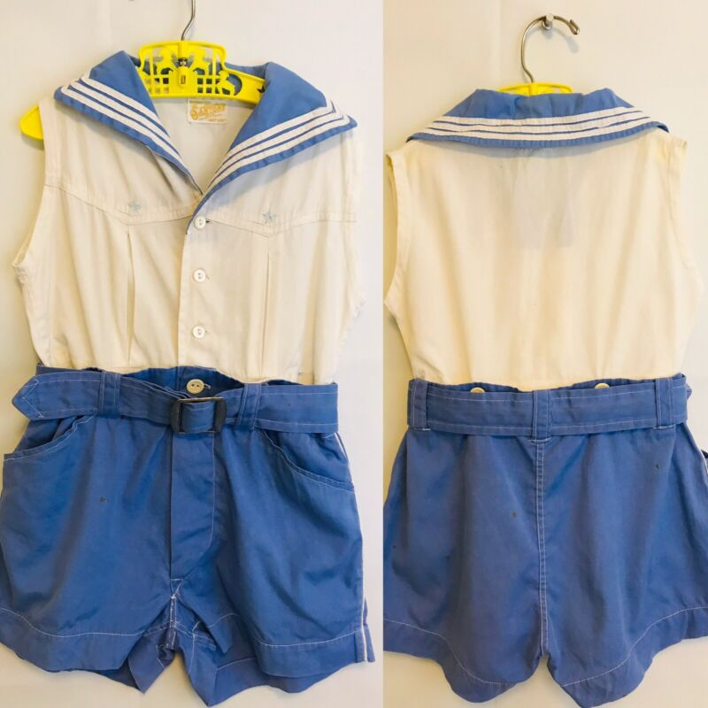 Vintage Baby Outfit Vintage Girls Toddler Two Piece Shorts Set in Blue & White