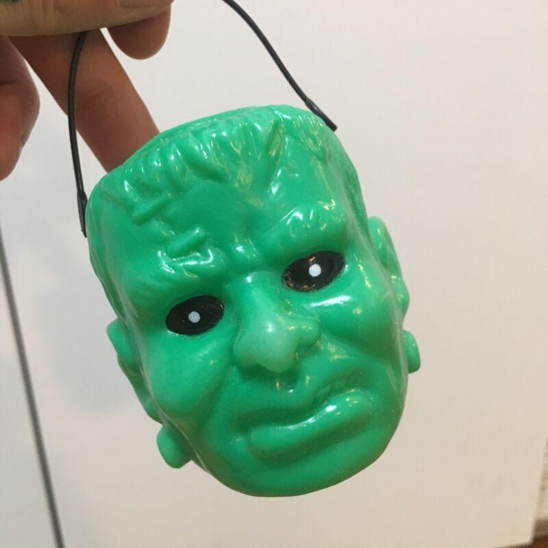 Vintage Blow Mold Mini Candy Bucket Halloween Frankenstein Head
