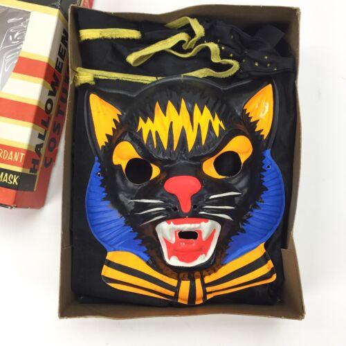 Vintage BLACK CAT COSTUME & MASK Box, Halloween, 1950-60s, decor collectible