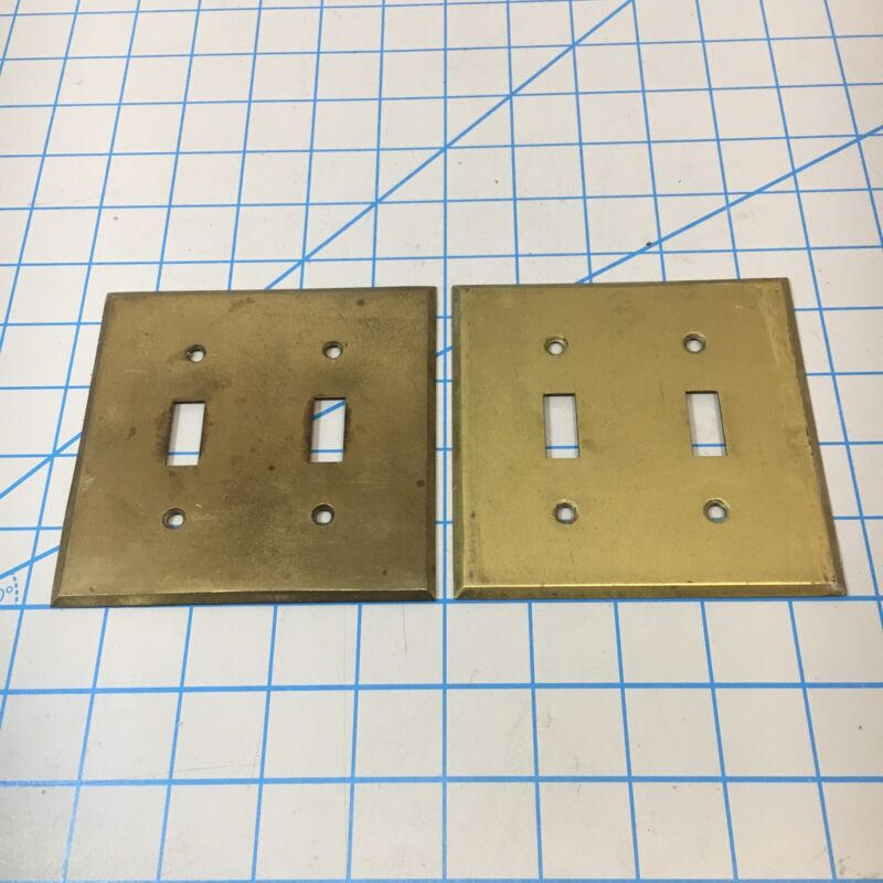 Vintage Brass Light Switch Cover Plates 2 Gang