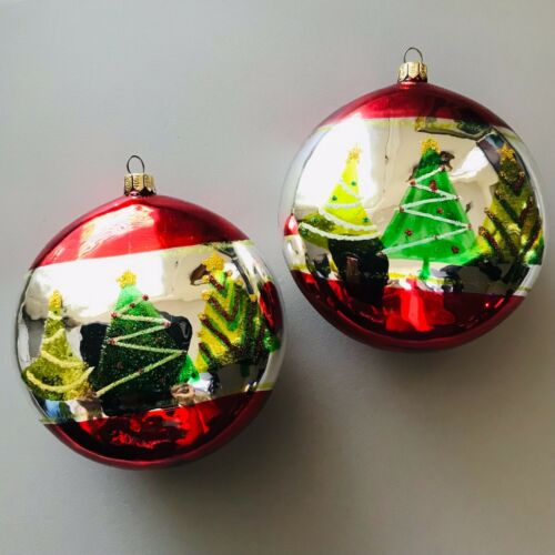 """Blown Glass Summit Hand Painted Christmas Tree 4"""" Disc Ornaments Set of 2"""