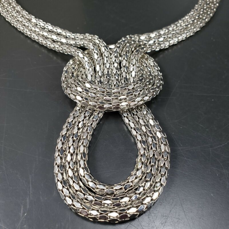Statement Necklace Retro Glam 1970s Silver Chain Armor Link
