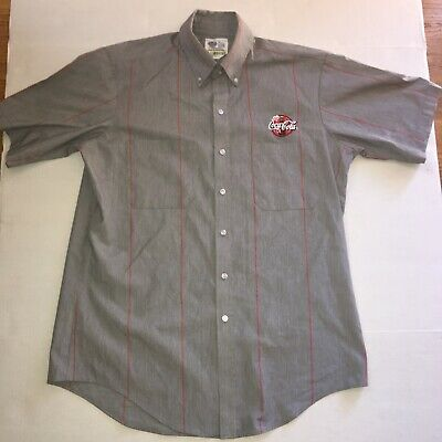 Vintage Coke Cola Logo Striped Collar/Dress Shirt - Made in USA