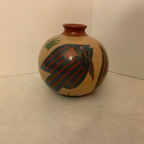 Costa Rica Pottery - Hand Painted Vase - Signed - Fish Design