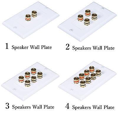 1-Gang Audio Wall Plate w/ Binding Post for Banana Plugs (18-14)Awg Speaker -