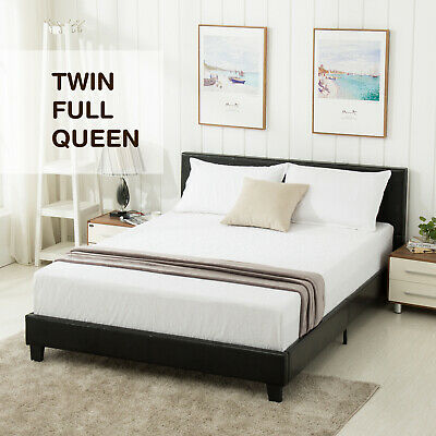 Twin/Full/Queen Size Platform Bed Frame&Slats Upholstered Headboard Faux Leather