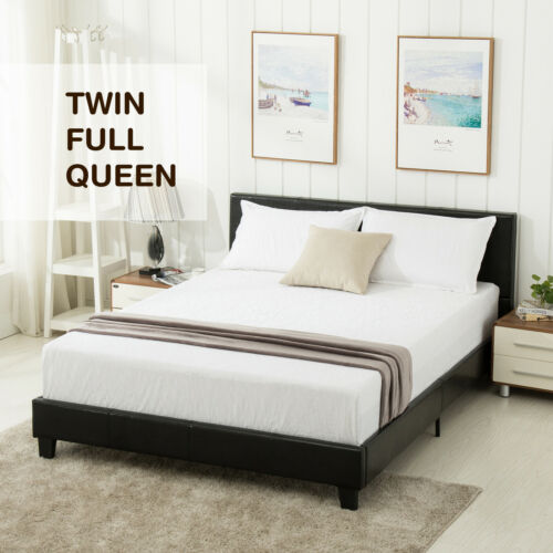 Twin/Full/Queen Size Platform Bed Frame&Slats Upholstered He